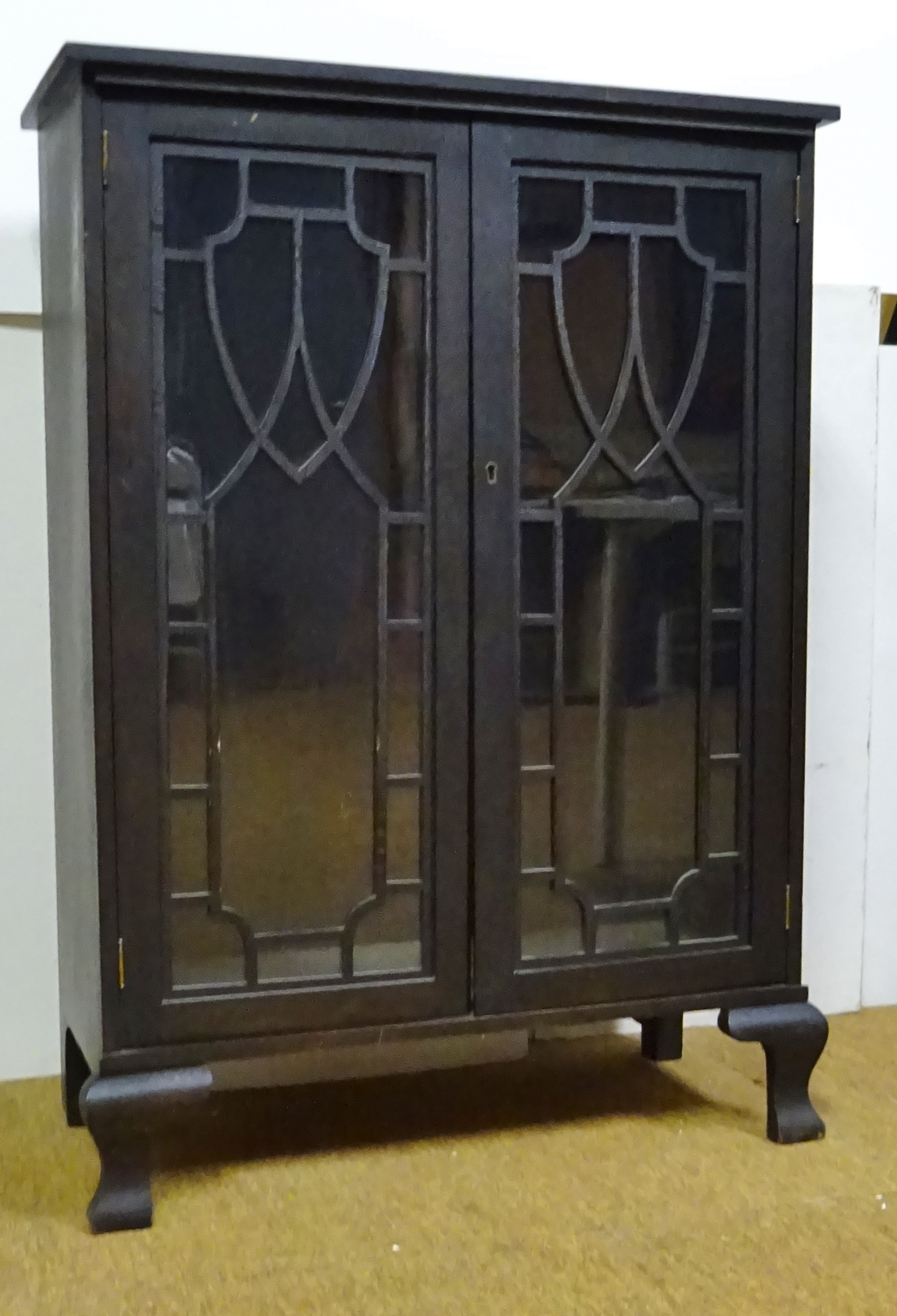 Antique Mahogany Bookcase With Glass Doors Late Victorian
